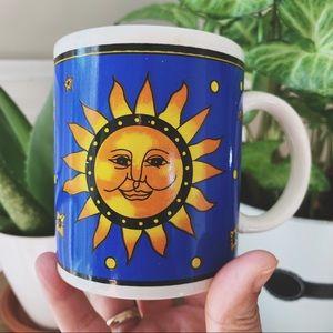 Vintage Celestial Mug with Sun and Moon